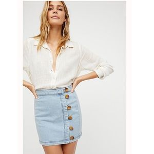 Free People Little Daisies Denim Button Front